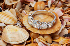 Gold diamonds ring on the seashell background Royalty Free Stock Photos