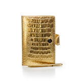 Gold Diary with Pen Stock Images
