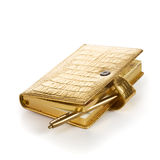 Gold Diary with Pen Royalty Free Stock Photos