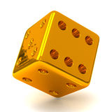 Gold dice 3d. Golden dice - symbol of luck - 3d image Stock Image