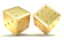 Gold dice Royalty Free Stock Photo
