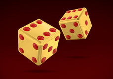Gold Dice. With Rubis (has clipping path Royalty Free Stock Photography