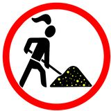 Gold digger lady allowed red circular road sign Royalty Free Stock Image
