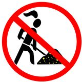 Gold digger lady not allowed prohibition red circular road sign Royalty Free Stock Photography