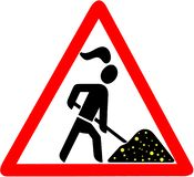 Gold digger lady warning red triangular road sign Stock Photo