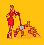 Gold digger woman leaning on shovel Stock Image