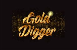 Goldenlogotype copy 44. Gold digger gold word text with sparkle and glitter background suitable for card, brochure or typography logo design Stock Image