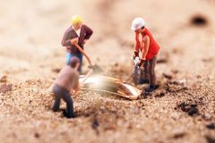 Gold digging treasure search Stock Photos