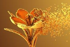 Gold-Digital-Blume löst sich zu den Pixeln 3D auf Stockbilder