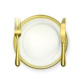 Gold dinner place setting. Vector illustration, isolated on white background Stock Image