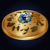 Gold disc with signs of the zodiac around the Stock Photos