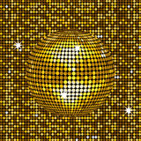 Gold disco ball background Royalty Free Stock Photo