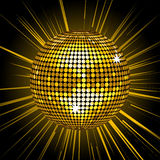 Gold disco ball background Royalty Free Stock Images