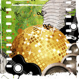 Gold disco ball on green background Royalty Free Stock Photos