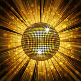 Gold disco ball and mosaic background Stock Image