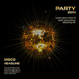 Gold disco ball party background. Disco ball background in glowing gold on with sample text Royalty Free Stock Photo