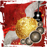 Gold disco ball on red background Royalty Free Stock Photo