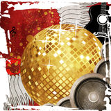 Gold disco ball on red background Stock Photography