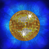 Gold disco ball and sparkling blue background Royalty Free Stock Photos