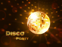 Gold disco ball. Vector illustration Royalty Free Stock Photo