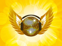 Gold disco ball and wings Royalty Free Stock Photography