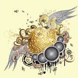 Gold disco ball with wings Stock Photos