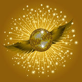 Gold disco ball and wings Royalty Free Stock Photo