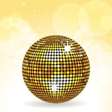 Gold disco ball and yellow background Stock Images