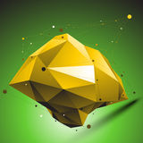 Gold distorted 3D abstract object with lines and dots placed ove. R green background Royalty Free Stock Images