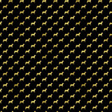Gold Dogs Faux Foil Metallic Dog Polka Dots Black Background Royalty Free Stock Images
