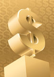 Gold Dollar. Gold monument symbol of American dollar, vector Stock Photography