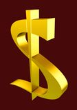 Gold dollar. Golden symbol of dollar on a red background Royalty Free Stock Photo