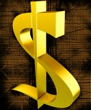 Gold dollar. Golden symbol of dollar on a black-orange background Royalty Free Stock Photos