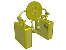 Gold dollar carry two cases. Royalty Free Stock Photo