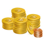 Gold Dollar and Cent Coin Stack Vector Icons Royalty Free Stock Photos