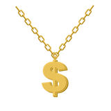 Gold dollar on chain. Decoration for rap artists. Accessory of p. Recious yellow metal to hip hop musicians Royalty Free Stock Photo