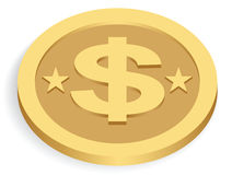 Gold dollar coin Stock Photos