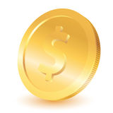Gold dollar coin. On a white background Royalty Free Stock Image