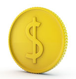 Gold dollar coin. On white background Royalty Free Stock Images