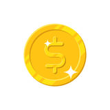 Gold dollar coin cartoon style isolated. Shiny gold dollar sign for designers and illustrators. Gold piece in the form of a vector illustration Royalty Free Stock Photos