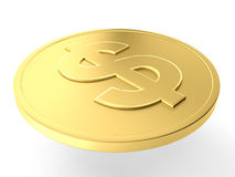 Gold dollar coin. 3d illustration of a gold dollar coin Stock Images