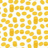 Gold dollar coin falling seamless pattern. Stock Images
