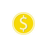 Gold dollar coin flat icon, finance and business Stock Image