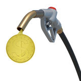 Gold dollar coin flowing from fuel nozzle Stock Photography