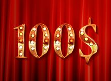 Gold 100 dollar coin. On background of the red curtain. Vector illustration. Vintage style Stock Images