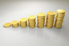 Gold Dollar Coin Graph. 3d render illustration of gold dollar coin graph diagram Stock Image
