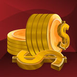Gold Dollar Coin. Illustration for Gold Dollar Coin on red background Stock Photos