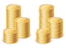 Gold dollar coins Royalty Free Stock Photos