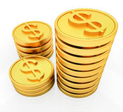 Gold dollar coins. 3D render Stock Illustration