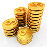 Gold dollar coins. 3D render Royalty Free Illustration